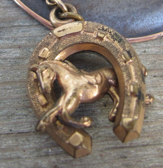 2x pc. victorian watch chain necklace horse lucky horseshoe watch chain FOB wholesale antique lot equestrian pendant  vintage gold w12
