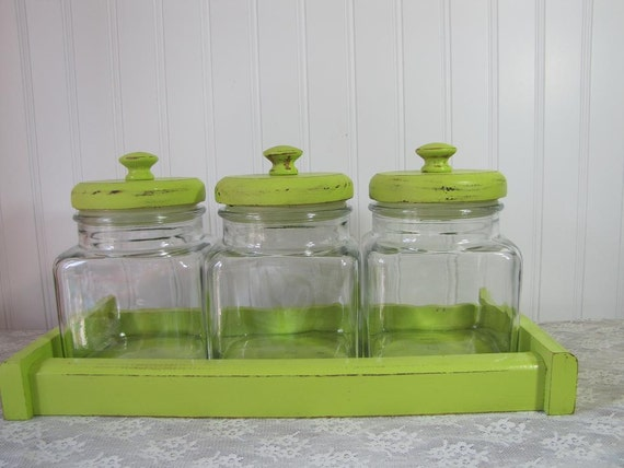 apple green distressed candy store canister set by packratdiva. Black Bedroom Furniture Sets. Home Design Ideas