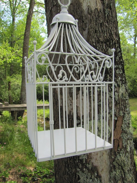 Wedding White Decorative Bird Cage with Hearts