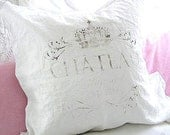 Made To Order French White Linen Blend Faded Chateau Marmont Pillow SLIP COVER