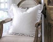 Wholesale Bulk DISCOUNT White Linen Cotton Blend Ruffle SLIP COVER (Plain Front)