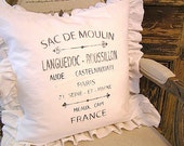 Made To Order White Linen Blend Ruffled Pillow (SLIP COVER ONLY) Dark Brown French Text Design