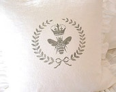 Made To Order White Linen Blend Bee, Crown and Laurel Wreath Ruffle SLIP COVER