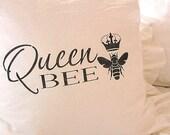 Made To Order White Ruffled Linen Blend SLIP COVER Black Queen Bee Design