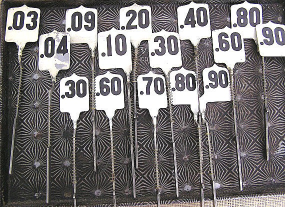 Antique Vintage Cash Register Price Tags Flags Wedding Table Numbers Plant Markers LOT of 15