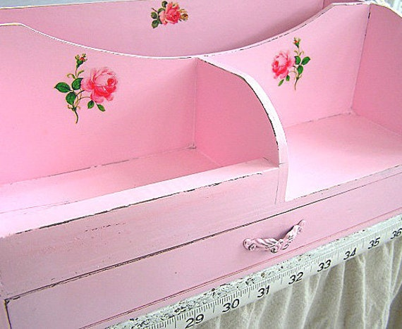 Shabby Pink Cottage Chic Cabbage Rose Desk Organizer