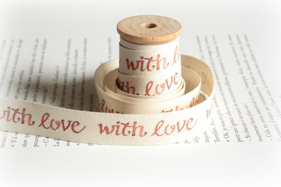 With Love cotton tape - twill ribbon