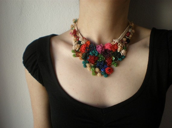 Buddleja Davidii ... Freeform Beaded Crochet Necklace - Flowers