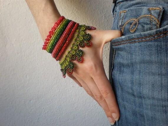 Fuchsia Verrucosa  ... Freeform Crochet Cuff