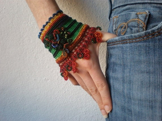 Phymosia Crenulata... Freeform Crochet Cuff - Flowers -  Green Red Orange Yellow Blue