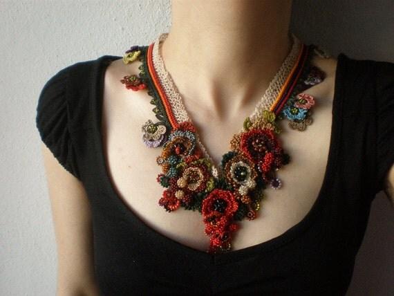 Talipariti Elatum  ... Beaded Freeform Crochet Necklace - Colorful Flowers - Red Burgundy Green Cream