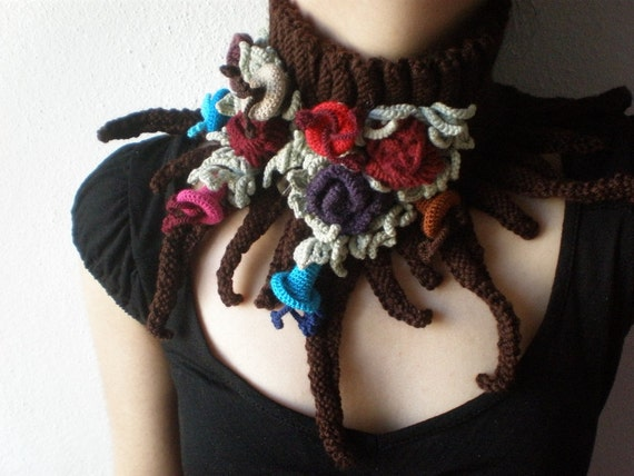 Elan ... Knitted Neckwarmer / Scarflette - Chocolate Brown  - Colorful Flowers