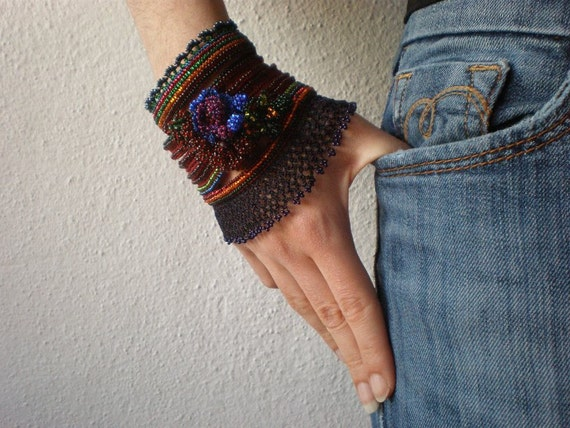 Ilex Opaca  ... Freeform Crochet Cuff - Flowers -  Cardinal Red  Burgundy Black Green Indigo