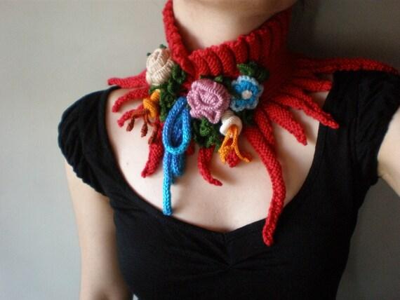 Elan ... Knitted Neckwarmer \/ Scarflette - Crimson Red
