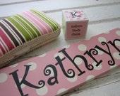 New Baby Gift Bundle - Personalized Door Plaque, Wet Wipes Case, Wood Block Keepsake