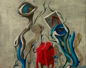 original acrylic pop surrealism ooak painting