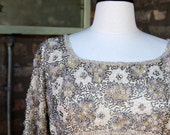 Vintage 1960s Gold Silk Beaded British Crown Colony Gown Dress
