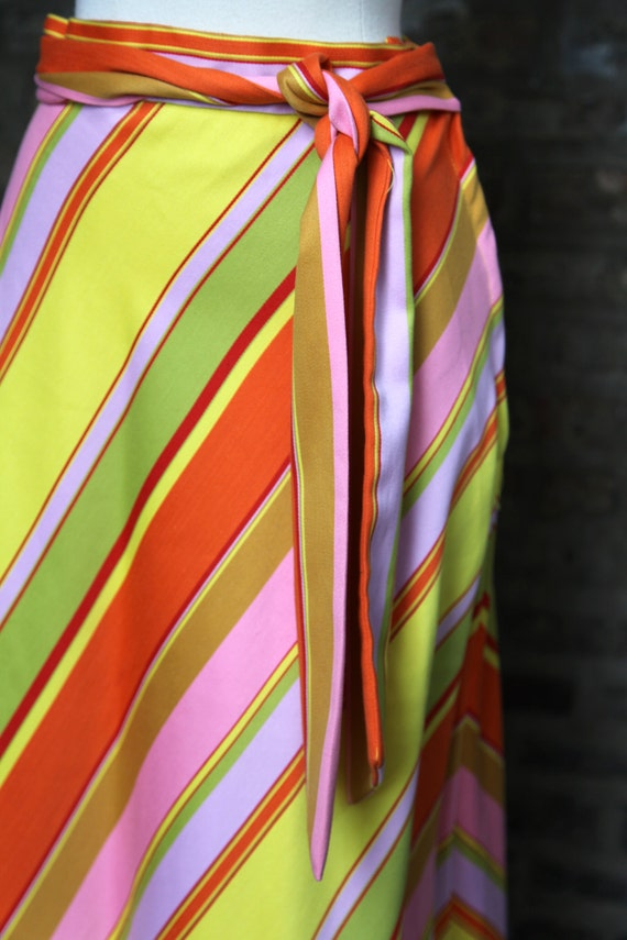 Vintage Multi Color Striped Maxi Skirt