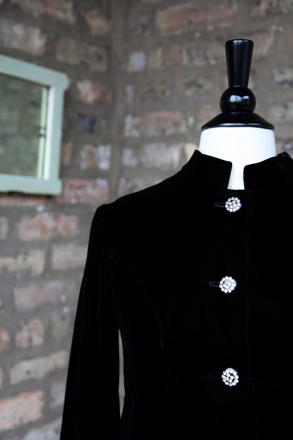 Vintage 60s Opera Coat / Black Velvet Rhinestone Opera Coat