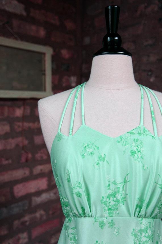 RESERVED ... Vintage 70 Dress / Sea Foam Floral Green Dress Crop Jacket
