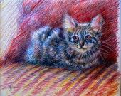 "original portrait of your cat like this kitten portrait in pencil ""Camo Stripes"""