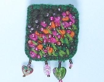 Bright garden Art Pin brooch