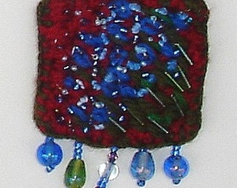 Forget-me-not Art Pin crochet embroidery beading textile art