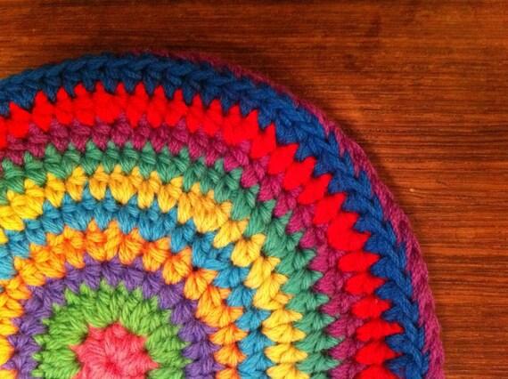 bright wool pot holder multicolor circle mandala
