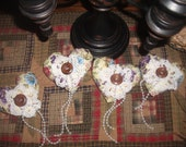 Set Of Four Vintage Style Victorian Look Heart Ornies Or Bowl Fillers