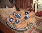 6 Primitive Patriotic Americana Heart Bowl Fillers FAAP OFG