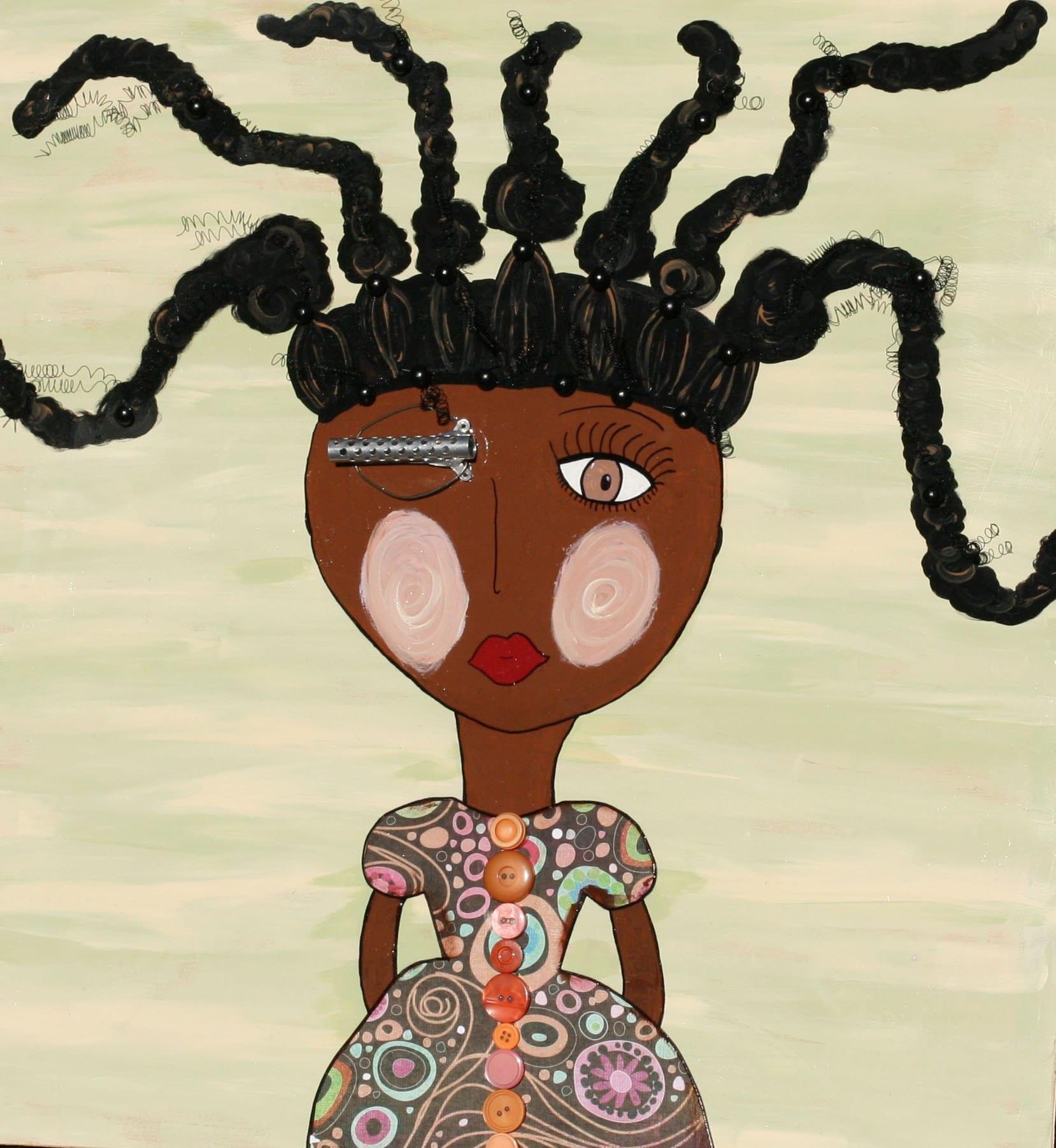 Afro Art Girl original african american folk art 3-d