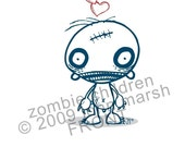 HALLOWEEN ZOMBIE LOVE CARD, ZOMBIE CHILDREN NEED LOVE TOO, original designs by Buster McGee