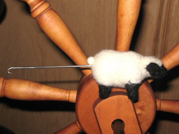 Needle Felted Spinning and Orifice Hook, Black Faced Sheep