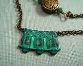 Parliament of Owls asymmetrical brass NECKLACE with a trio of birds on a wire in a lovely turquoise patina