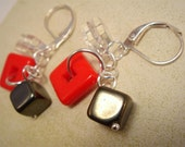 Rocking Squares SILVER EARRINGS - Czech glass