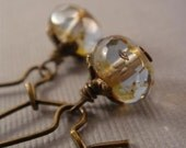 Gilded BRASS EARRINGS - picasso Czech glass