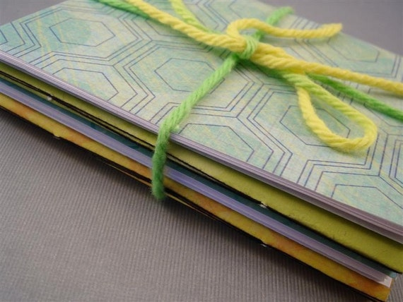 Geometric Honeycomb MINI NOTEBOOKS in lime green blue yellow with blank pages