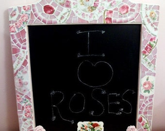 Very Shabby Cute Kitchen Mosaic Chalkboard Pink Roses Cottage Home Decor Wall Hanging Office Kitchen