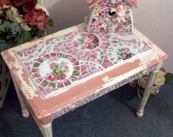 Shabby Chic Cottage Pink & White Bench Stool or Coffee Table