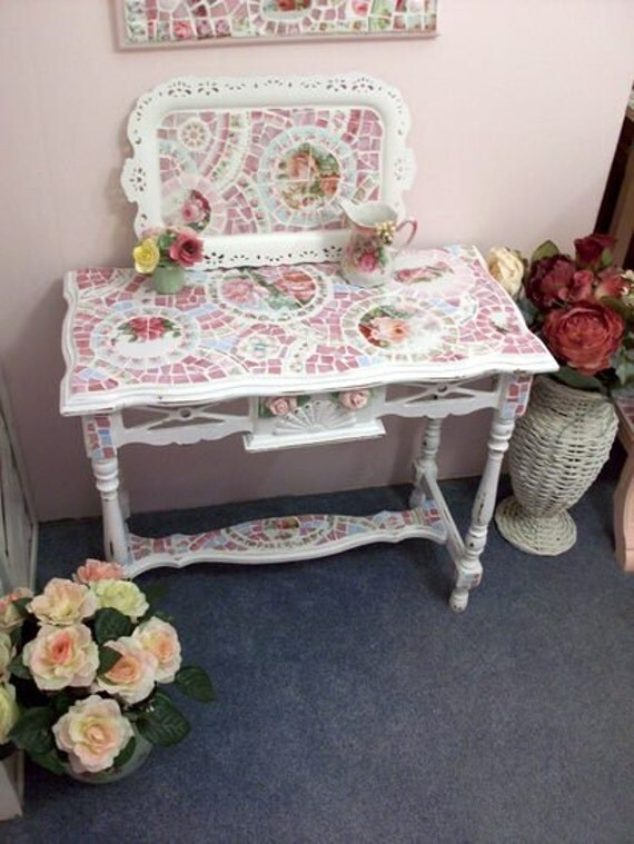 RESERVED FOR KRISTINE Shabby Beautiful Rose China Mosaic Table