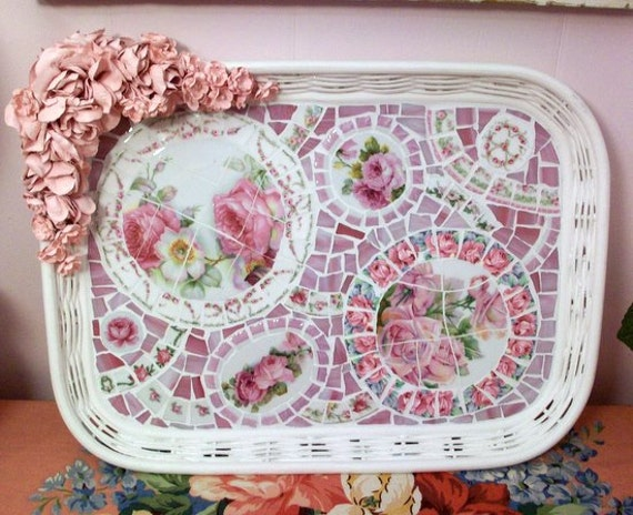 SALE 30% OFF Simply Shabby Fabulous Large White Wicker Rattan and Rose Mosaic Tray