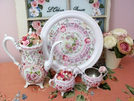Cottage White 4 Piece Tea Set Shabby China Mosaic