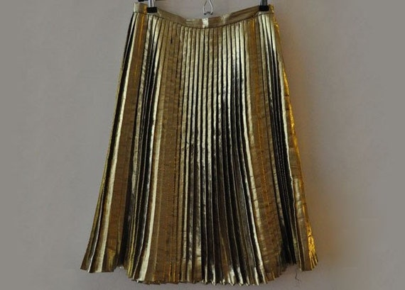 gold metallic vintage pleated skirt by lethilogica on etsy