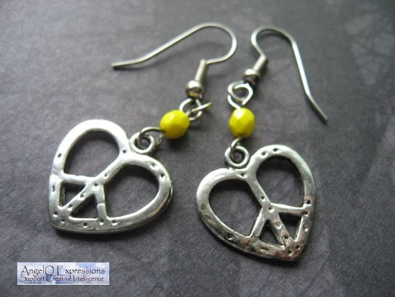 Mellow Yellow Peace Sign Heart Earrings