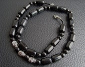 Black Jasper and Tibetan Silver Skull Necklace