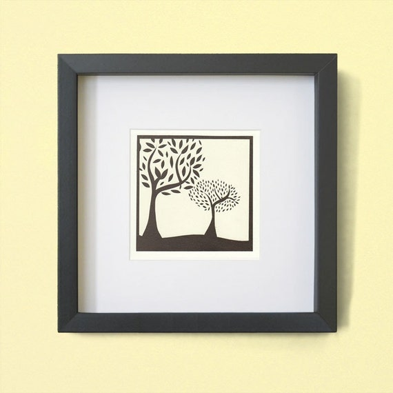 Two Bronze Trees - Papercut Print