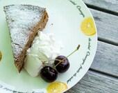 Sunken cherry cake,  5x7 photography, whipped cream, cherry