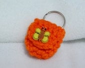 Crochet keychain Coin Cozy, coin holder, coin pouch, mini purse, coin purse, ring holder  - Orange  with Yellow Butterfly
