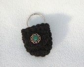Keychain Coin Cozy-Black with Gold and Green Button - Last Chance Sale