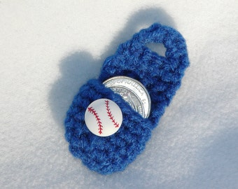 Crochet keychain Coin Cozy, coin holder, coin pouch, mini purse, coin purse, ring holder  - Dark Blue Baseball